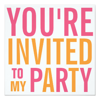 Partie de l'adolescence rose et orange de Tween de Carton D'invitation 13,33 Cm