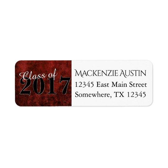 Partie de marbre rouge et noire rouge de diplômé étiquette d'adresse retour