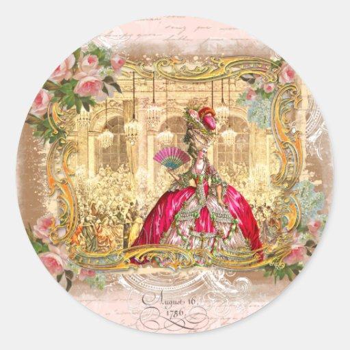 Partie de Marie Antoinette dans le rose à Autocollants Ronds
