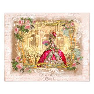 Partie de Marie Antoinette dans le rose à Versaill Prospectus 11,4 Cm X 14,2 Cm