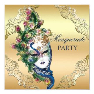 Partie de mascarade de paon et d'or de masque de carton d'invitation  13,33 cm