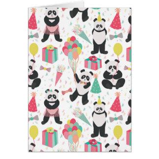 Partie de panda - motif d'anniversaire carte de vœux