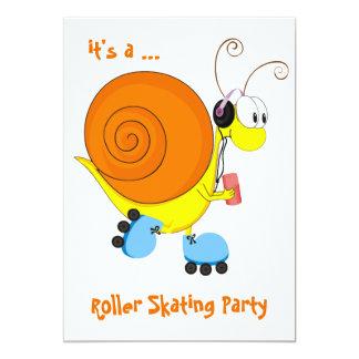 Partie de patinage de rouleau d'escargot de carton d'invitation  12,7 cm x 17,78 cm