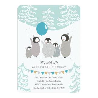 Partie de pingouin carton d'invitation  12,7 cm x 17,78 cm
