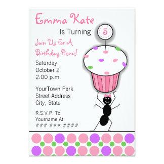 Partie de pique-nique de l'anniversaire des carton d'invitation  12,7 cm x 17,78 cm