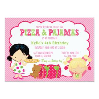 Partie de pizza et de Sleepover de pyjamas Carton D'invitation 12,7 Cm X 17,78 Cm