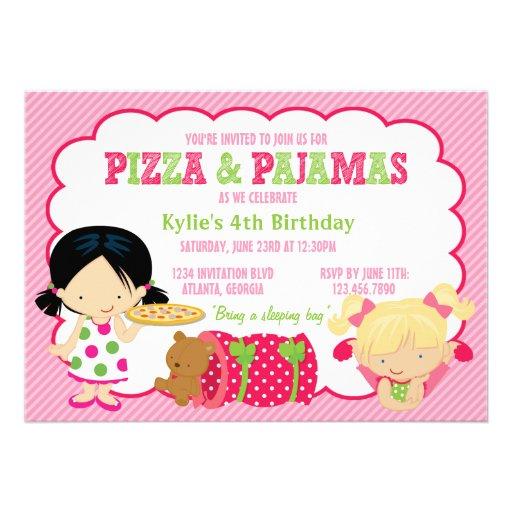 Partie de pizza et de Sleepover de pyjamas Cartons D'invitation Personnalisés