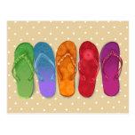 Partie de plage de bascules de sandales - points cartes postales