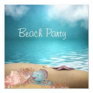 Partie de plage de sable de coquillages de l'eau carton d'invitation  13,33 cm