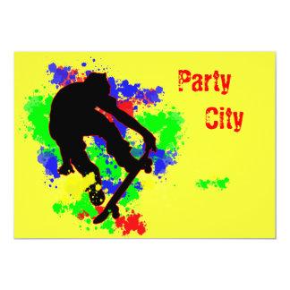 Partie de planche à roulettes de tache de graffiti carton d'invitation  12,7 cm x 17,78 cm