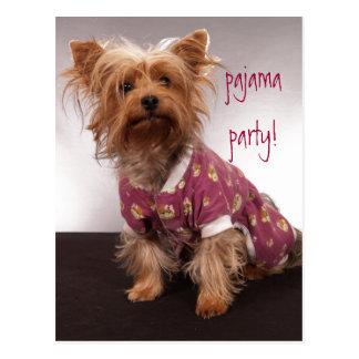 Partie de pyjama de Yorkie Cartes Postales