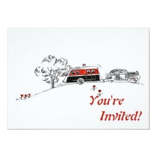 Partie de retraite antique de campeur et de carton d'invitation  12,7 cm x 17,78 cm