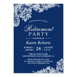 Partie de retraite blanche classique de dentelle carton d'invitation  12,7 cm x 17,78 cm