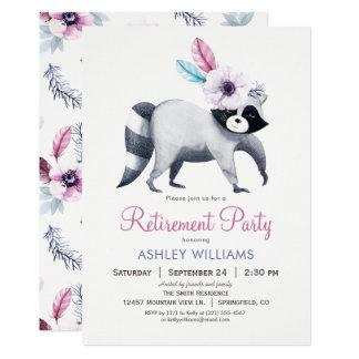 Partie de retraite chic de raton laveur carton d'invitation  12,7 cm x 17,78 cm