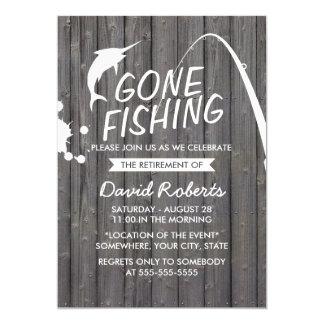 Partie de retraite en bois de pêche allée carton d'invitation  12,7 cm x 17,78 cm