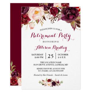 Partie de retraite florale rouge de Bourgogne Carton D'invitation 12,7 Cm X 17,78 Cm