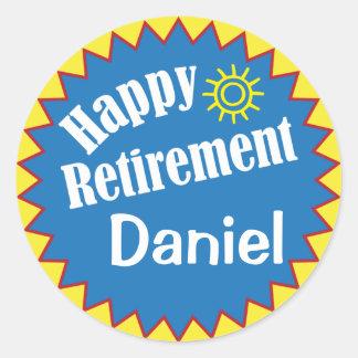 Partie de retraite heureuse personnalisée sticker rond