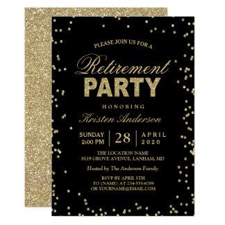 Partie de retraite moderne d'étincelles de carton d'invitation  12,7 cm x 17,78 cm
