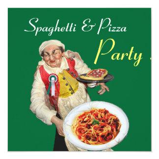 PARTIE de SPAGHETTI et de PIZZA, vert rouge de Carton D'invitation 13,33 Cm