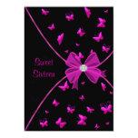 Partie de sweet sixteen de papillon de roses invitations personnalisées