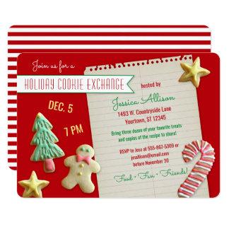 Partie d'échange d'échange de biscuit de vacances carton d'invitation  12,7 cm x 17,78 cm