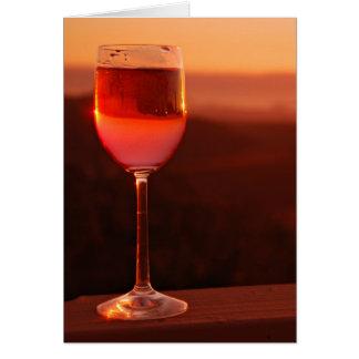 Partie d'échantillon de vin de coucher du soleil carte de vœux
