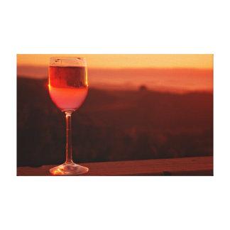 Partie d'échantillon de vin de coucher du soleil toile tendue