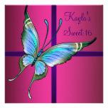 Partie du bonbon 16 à papillon de roses indien invitations personnalisées