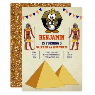 Partie égyptienne mignonne drôle d'anniversaire de carton d'invitation  12,7 cm x 17,78 cm