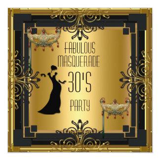 Partie fabuleuse des années 30 de mascarade de carton d'invitation  13,33 cm