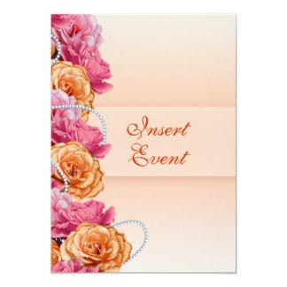 Partie florale de pays de pêche rose carton d'invitation  12,7 cm x 17,78 cm