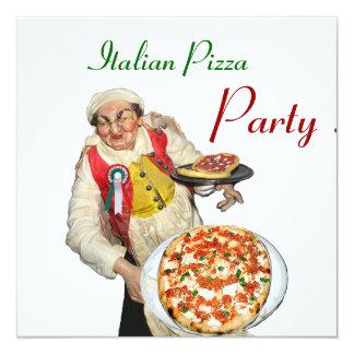 PARTIE ITALIENNE de PIZZA, blanc rouge de Carton D'invitation 13,33 Cm