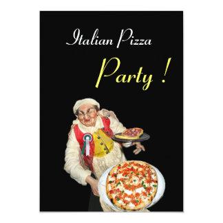 PARTIE ITALIENNE de PIZZA, noir rouge de Carton D'invitation 12,7 Cm X 17,78 Cm