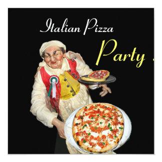 PARTIE ITALIENNE de PIZZA, noir rouge de Carton D'invitation 13,33 Cm