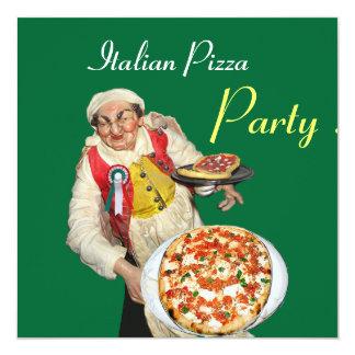 PARTIE ITALIENNE de PIZZA, vert noir de RESTAURANT Carton D'invitation 13,33 Cm