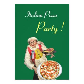PARTIE ITALIENNE de PIZZA, vert rouge de Carton D'invitation 12,7 Cm X 17,78 Cm