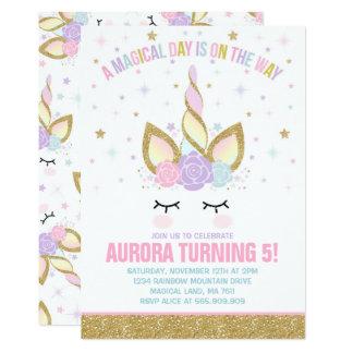 Partie magique de licorne d'invitation carton d'invitation  12,7 cm x 17,78 cm