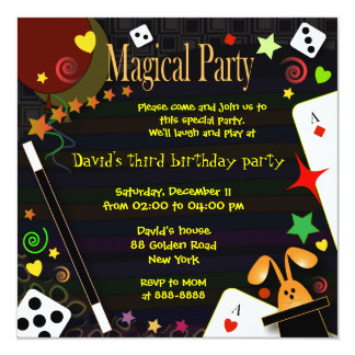 Partie magique de l'invitation 043 d'anniversaire carton d'invitation  13,33 cm