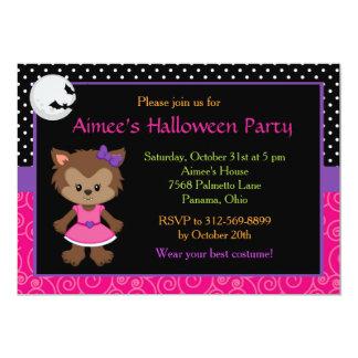 Partie mignonne de costume de fille de loup-garou carton d'invitation  12,7 cm x 17,78 cm