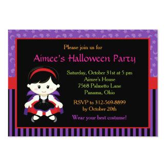 Partie mignonne de costume de fille de vampire de carton d'invitation  12,7 cm x 17,78 cm