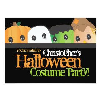 Partie mignonne éffrayante de costume de Halloween Carton D'invitation 12,7 Cm X 17,78 Cm