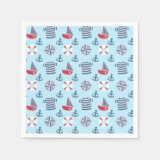 Partie nautique d'ancre mignonne colorée de serviette jetable