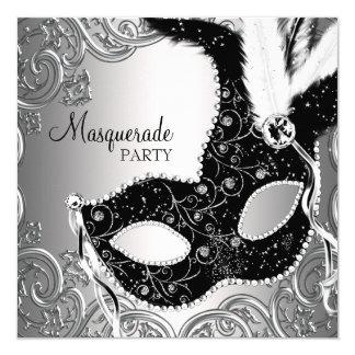 Partie noire argentée de mascarade de masque carton d'invitation  13,33 cm