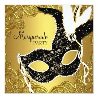 Partie noire de boule de mascarade de masque d'or carton d'invitation  13,33 cm