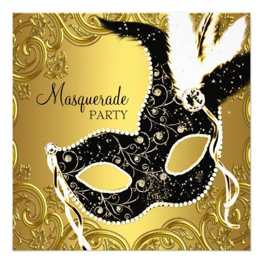 Partie noire de boule de mascarade de masque d'or carton d'invitation