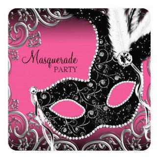 Partie noire de mascarade de masque de roses carton d'invitation  13,33 cm