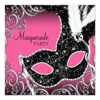 Partie noire de mascarade de masque de roses cartons d'invitation