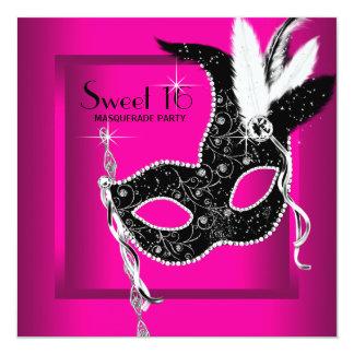 Partie noire de mascarade du bonbon 16 à roses carton d'invitation  13,33 cm