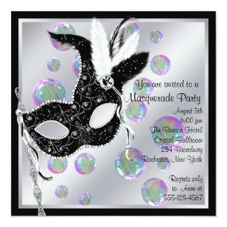Partie noire et blanche de mascarade de bulles carton d'invitation  13,33 cm