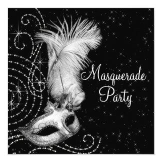 Partie noire et blanche élégante de mascarade carton d'invitation  13,33 cm